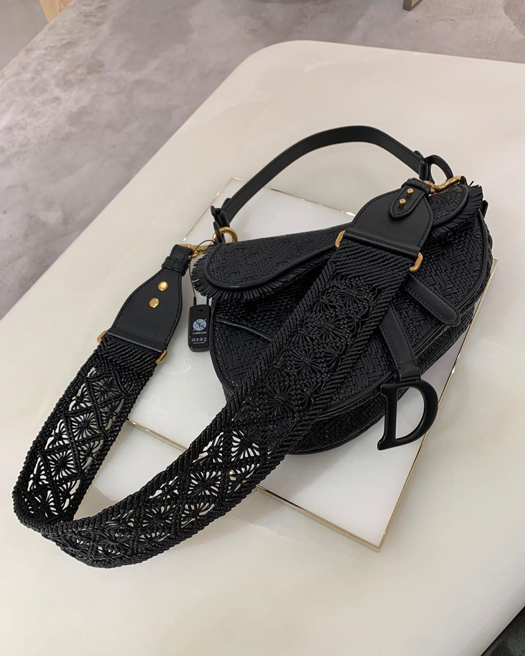 Dior Saddle Braided Leather Strips Bag more