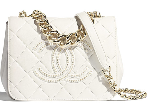 Chanel Embossed Studded Logo Bag thumb