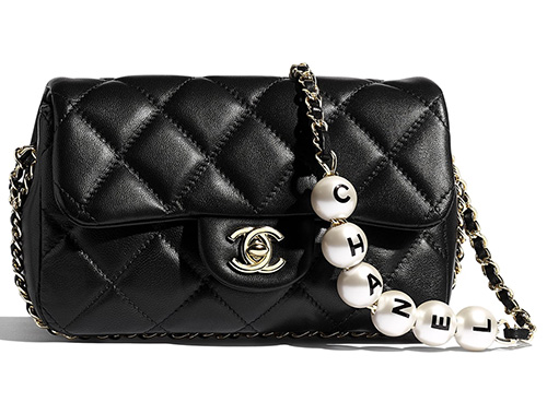Chanel Logo Pearl Chain Bag thumb
