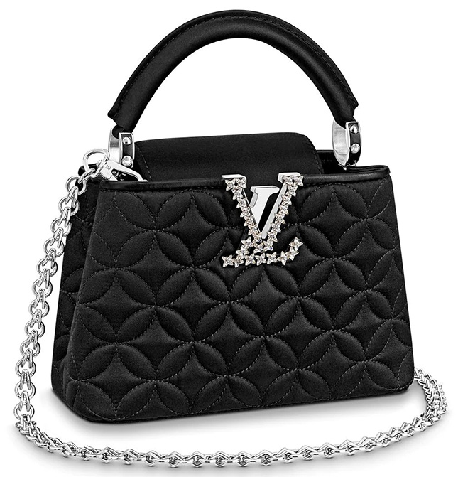 Louis Vuitton Monogram Flower Embossed Capucines Bag WITH gem stones LV Logo