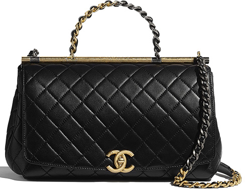 Chanel Large Flap Bag With Bi Color Top Handle thumb
