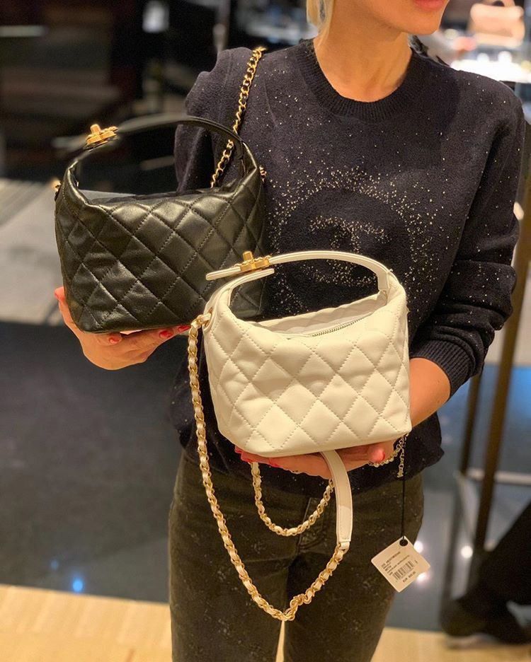 Chanel Large Lambskin Hobo Bag