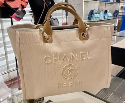 Chanel Pearl Logo Deauville Bag thumb