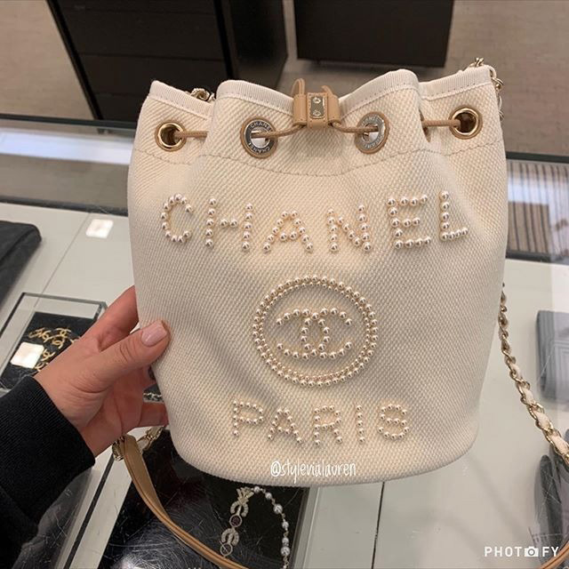 Chanel Pearl Logo Deauville Bag