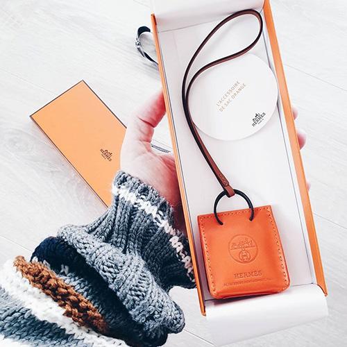Hermes Orange Shopping Bag Charm thumb