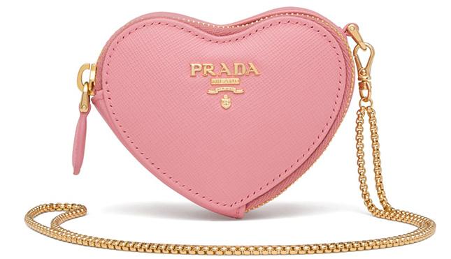 Prada Saffiano Heart Pouch Bag Charm