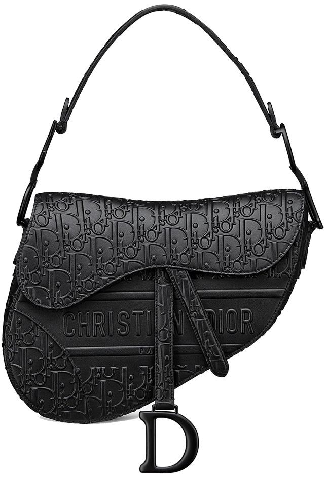 Dior Saddle Black In Ultra Matte Black Or Oblique Black