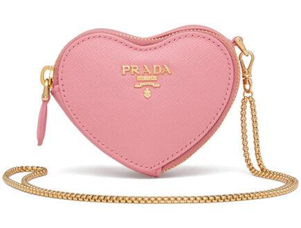 Prada Saffiano Heart Pouch Bag Charm thumb