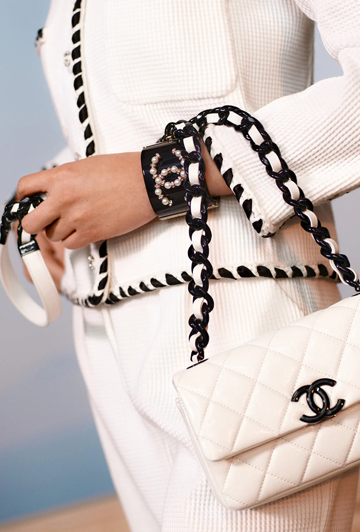 Chanel Classic Bag in White And Black Hardware