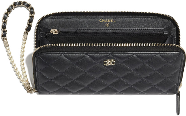 Chanel Pearl Zipped Wallet With Handle