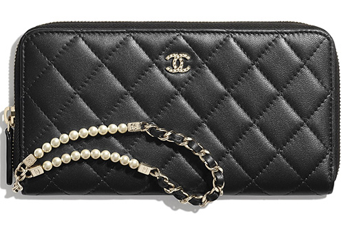 Chanel Pearl Zipped Wallet With Handle thumb