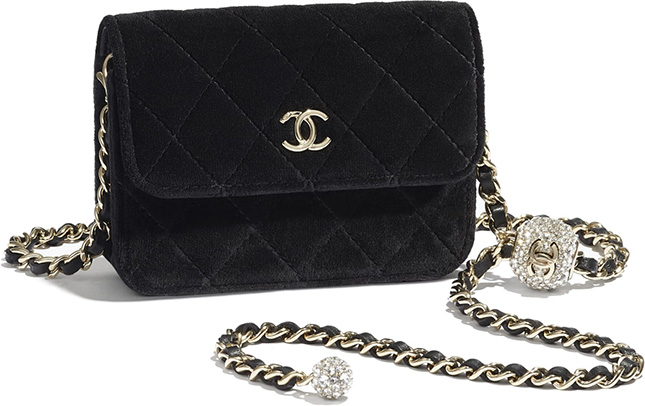 Chanel Velvet Chain Clutch With Charm