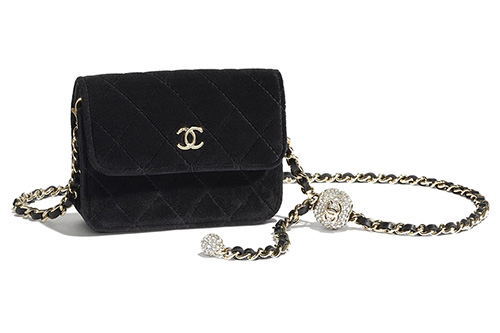 Chanel Velvet Chain Clutch With Charm thumb