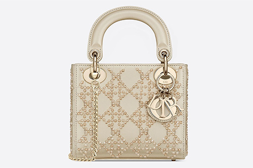 Lady Dior Platinum Beaded Cannage Bag thumb