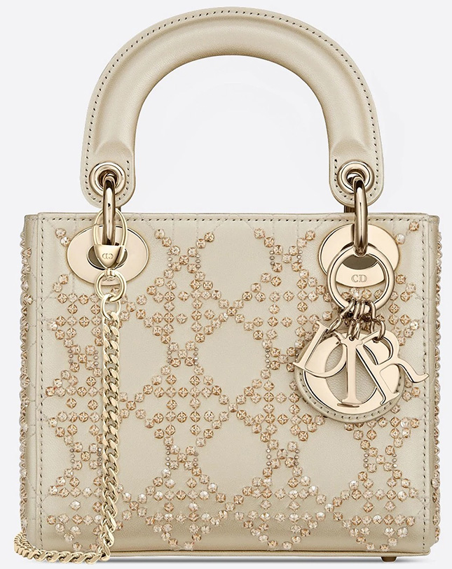 Lady Dior Platinum Beaded Cannage Bag