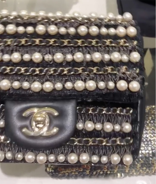 Chanel Diagonal Pearl And Woven Leather Chain Bag