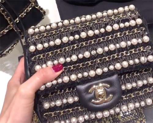Chanel Diagonal Pearl And Woven Leather Chain Bag thumb