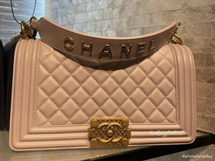 Chanel Boy Bag With Signature Strap And Quilted Logo thumb