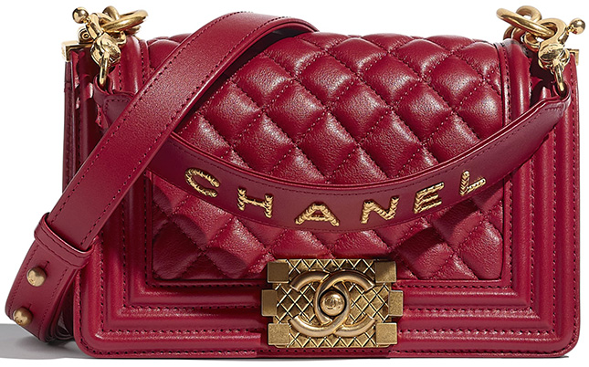 Chanel Boy Bag With Signature Strap And Quilted Logo