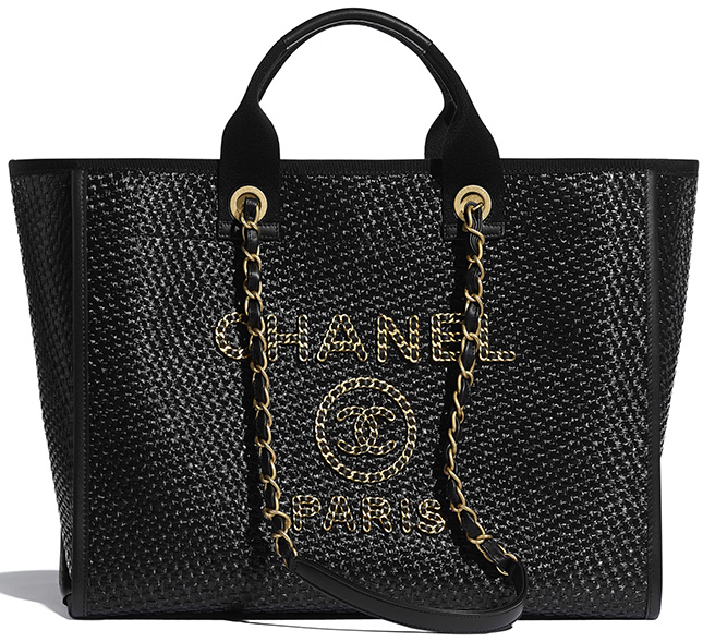 Chanel Deauville Woven Chain Leather Logo Bag