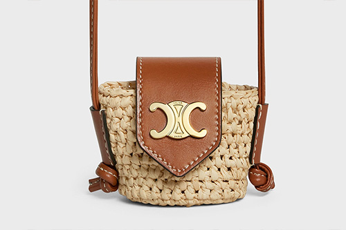 Celine Panier Airpods Case in Raffia And Calfskin With Strap thumb