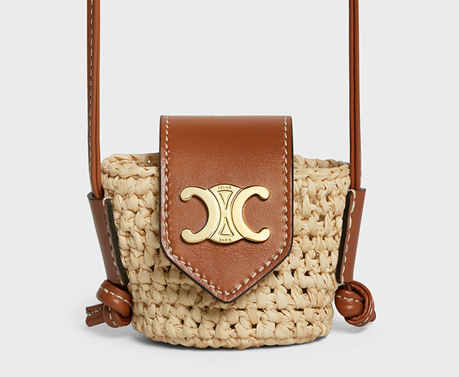 Celine Panier Airpods Case in Raffia And Calfskin With Strap
