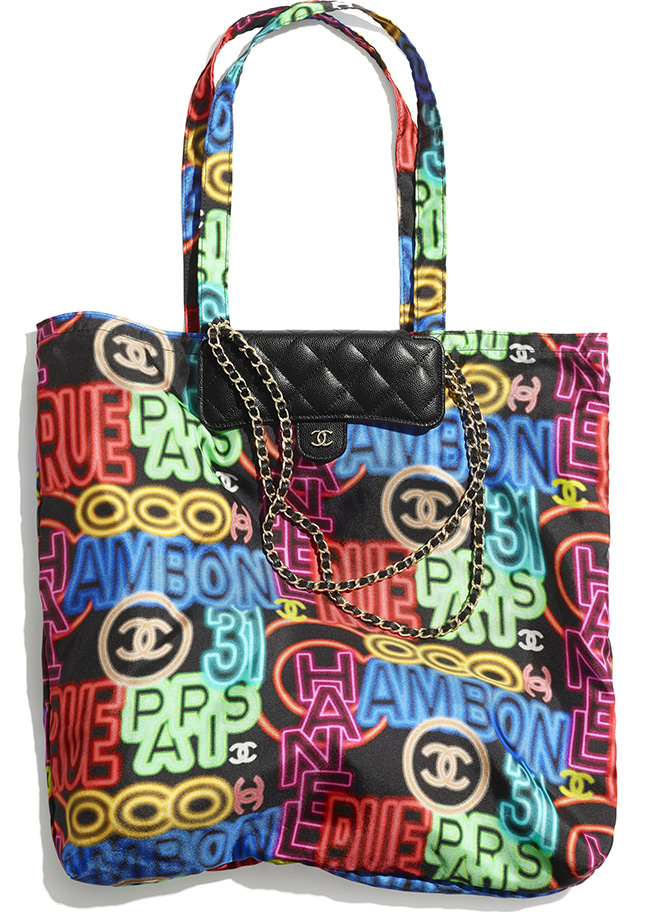 Chanel Printed Fabric Foldable Tote Bag With Chain