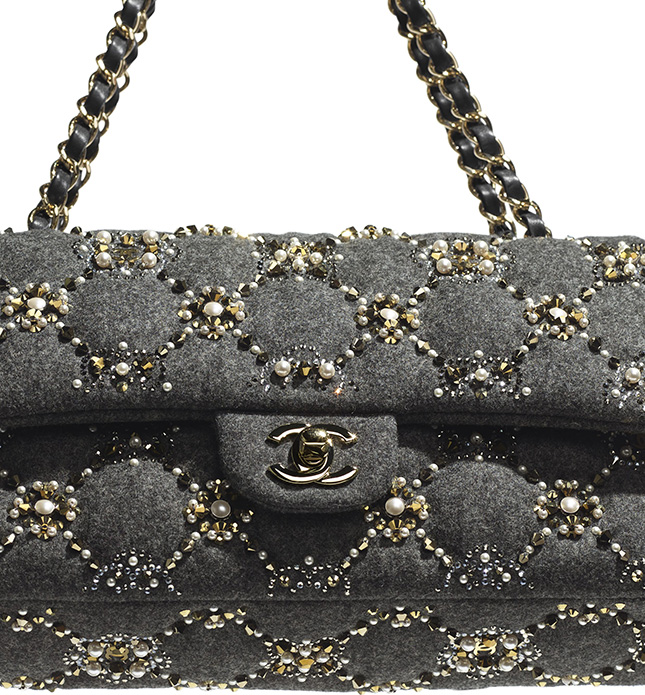 Chanel Crystal Pearl Quilted Classic Flap Bag