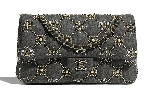 Chanel Crystal Pearl Quilted Classic Flap Bag thumb