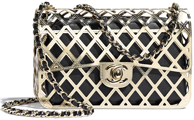 Chanel Gold Classic Bag With Pouch