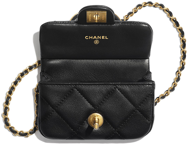 Chanel Handle Flap Card Holder With Chain