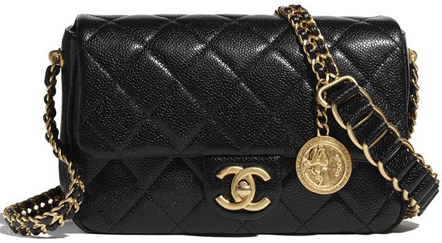 Chanel Medallion Bag With Large Woven Leather Strap