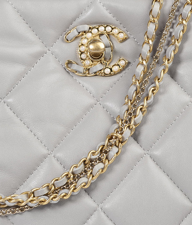 Chanel Hobo Bag With Pearl And Woven Chain CC Logo