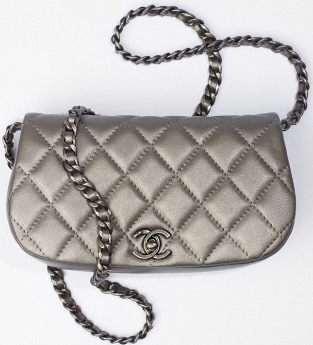 Chanel Metallic Clutch With Chain