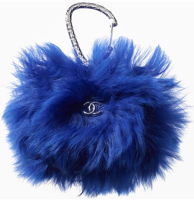 Chanel Shearling Card Holder With Jewel Hook